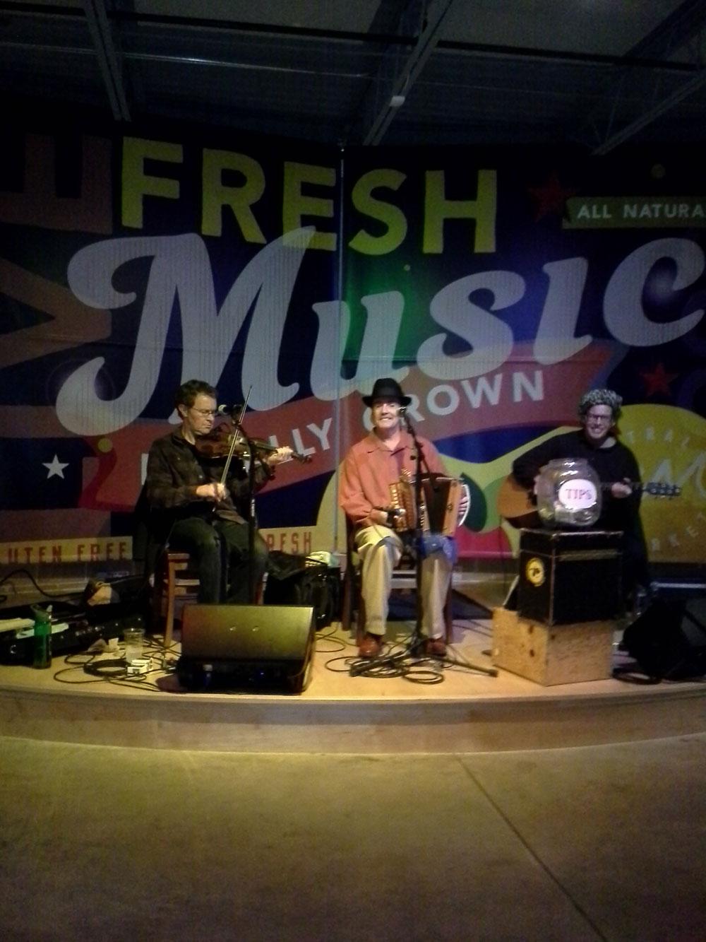 Central Market Austin Peter Schwarz on fiddle and Special Guest Erik Hokkanen on guitar