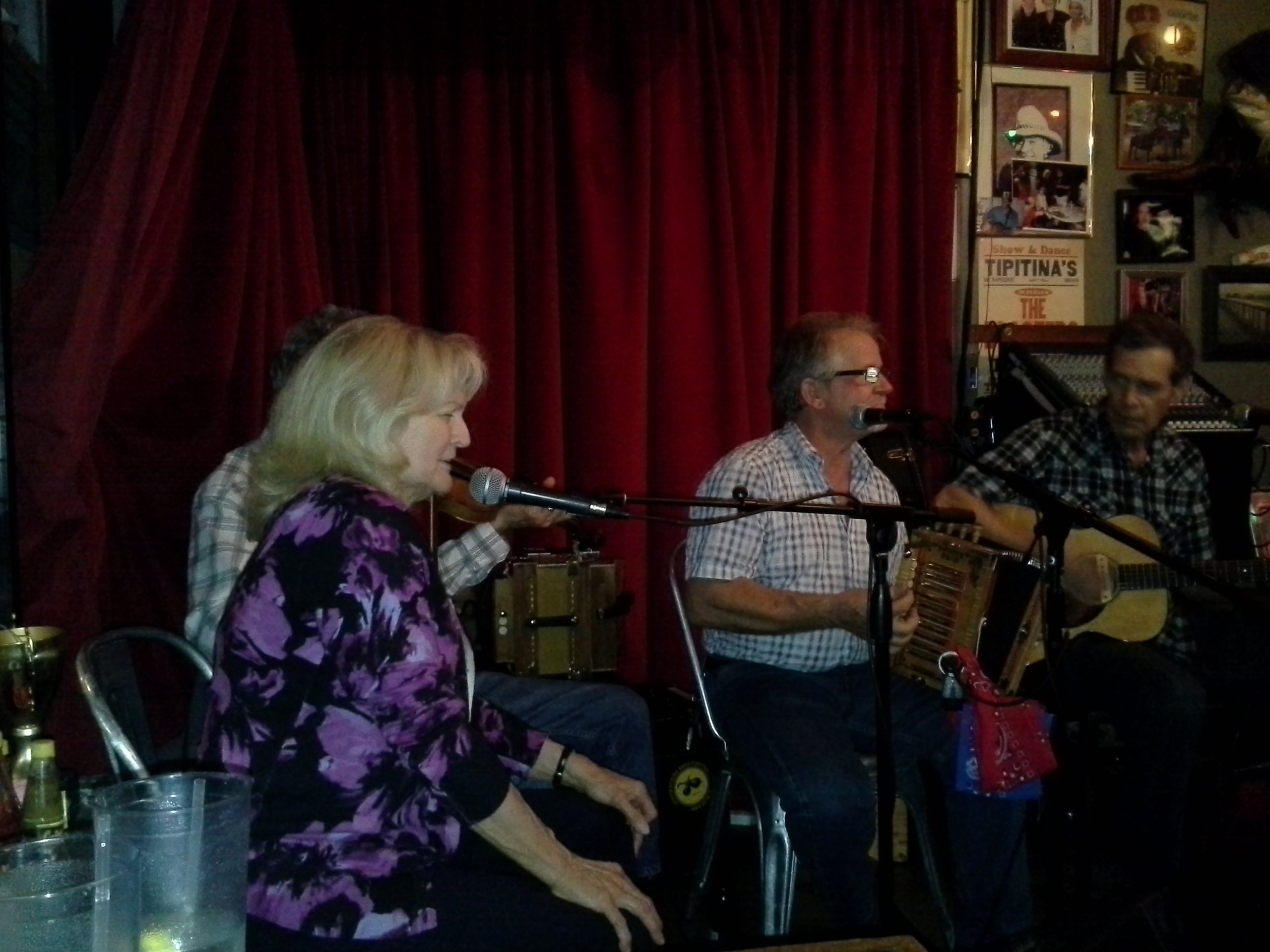 Jesse Lege on Accordion and Ginny Hawker on vocals with Tracy Schwarz on fiddle at Evangeline Café